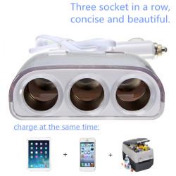 Bil Billaddare Dubbel USB-laddare Blå LED-lampa Tre Sockets