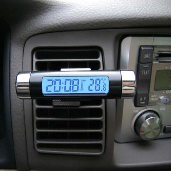 Auto Digital LCD Temperatur Thermometer Monitor Time Clock Autoelektronik