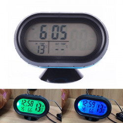 Car Voltage Digital Monitor Battery Alarm Clock LCD Temperature Thermeter
