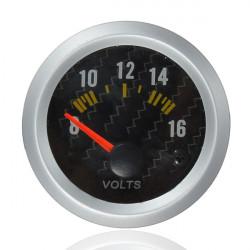Carbon Fiber Face Voltmeter Volt Måler 12V Gul LED 8 til 16 Volt