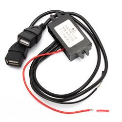 Dobbelt USB Bil Konverter Module 12V til 5V 3A 15W Power Adapter