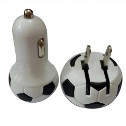 Soccer 5V1A USB Car Charger Adapter + Foldable USB Plug Wall Charger