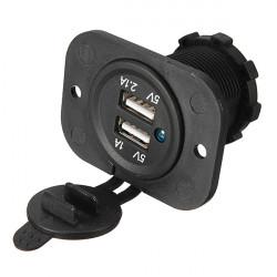 USB Uttag Panelmontage Dubbel Port Fordon Strömuttag 5V 2.1A