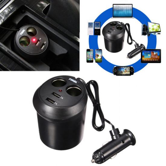 Universal 2-Portars USB Fordon Mobiladapter för iPhone6 / 6s / 5 iPod / Ipad 2021
