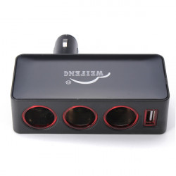 WF-046 1-Til-3 Bilens Cigarettænder Power Splitter Adapter USB-udgang