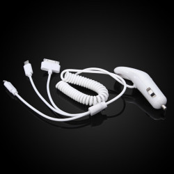 WF-131 3in1 Dual USB Car Auto Charger Adapter For iPhone Samsung