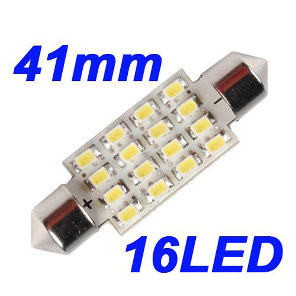 10X 41mm 16 LED SMD Spollampor Taklampa Bil Bulb Xenon Vit Bilbelysning