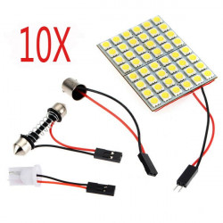 10XCar Interior 5050 48 SMD LED-ljus Panel + T10 + Festoon Spollampa + BA9S DC12V