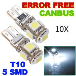10xCanbus T10 194 168 W5W 5050 5 LED SMD Bil Side Wedge Lys Bulb