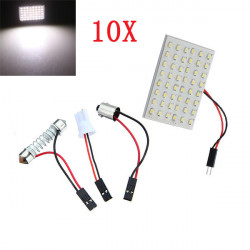 10x Auto Licht Panel 48SMD LED Innenbirnen T10 BA9S Adapter 6W