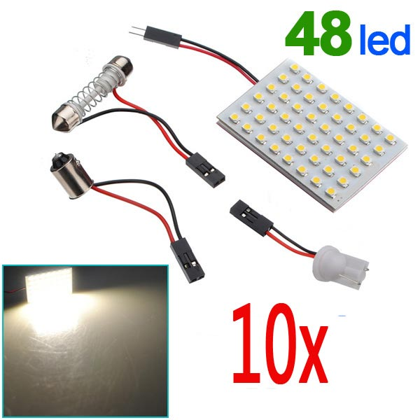 10 x Panel 48 SMD LED Bulb Lamp T10 Dome Bulb BA9S 12V DC Adapter Car Lights