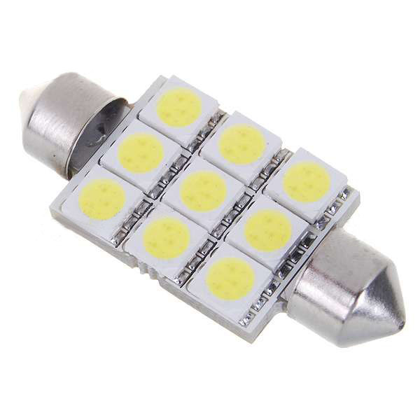 1136 1W 126-Lumen 9x5050 SMD LED Car Festoon White Light Bulb Car Lights