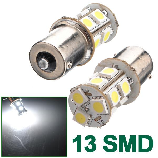 1156 BA15S Bil 5050 SMD 13 LED Hvid Markeringslygte Pæree Ny Bilbelysning