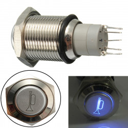 12V 16mm Wasserdicht Momentary Horn Metall Push Button Switch blaue LED beleuchtet