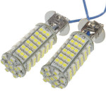 12V H3 5W 460-Lumen 6500K 102x3528 SMD LED Bil Vit Ljus Bulb Bilbelysning
