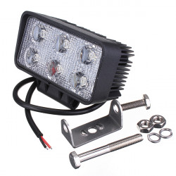 18W Car 6LED Work Light Floodlight Fog Lamp Beam Off White Road Drive
