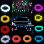 2M Flash Fleksibel Neon Light Glow El Strip Tube Wire Rope Bilbelysning