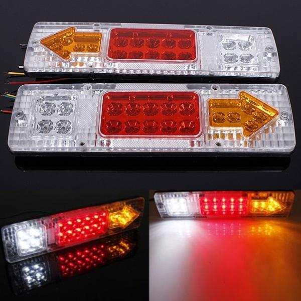 2Pcs 12V 19 LED Car Truck Trailer Tear Tail Stop Light Indicator Lamp Car Lights