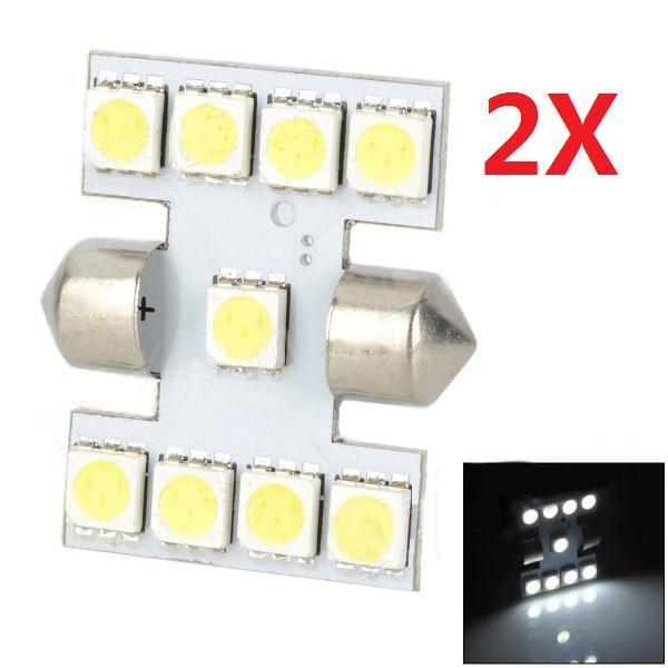 2X 12V 1W 120lm 9 5050 SMD LED Auto Lichter bubls Kfz Kennzeichen Autobeleuchtung