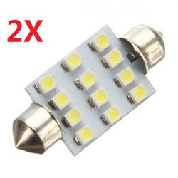 2X 39mm 12 SMD LED Ljus Festoon Spollampa Interior Reading Dome Ljus Bulbs