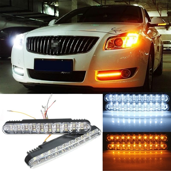 2pcs Car Daytime Running Light DRL Daylight Lamp with Turn Lights Car Lights