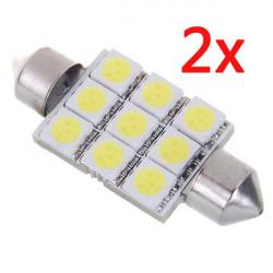 2x1136 1W 126-Lumen 9x5050 SMD LED Bil Festoon Spollampa Vit Ljus Bulb