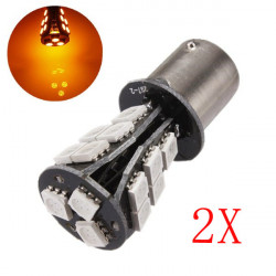 2 x 1156 BA15S 18SMD Amber/Yellow Canbus OBC Error Free Light Bulbs