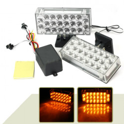 2x22 44 LED Bil Truck Strobe Flash Emergency Glödlampor Bright Amber