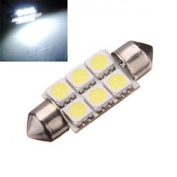 2x 36mm 6 SMD 5050 C5W Car LED Festoon Dome Light Bulbs White