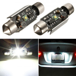 2 x 39 mm Canbus 5 Watts of Pure White License Plate Led Light Bulbs