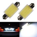 2 x 41MM 1 12 Chips COB Festoon Dome Map LED Light Lamp Roof Bulbs Car Lights