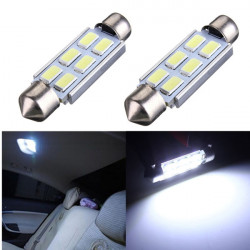 2 x 42mm Festoon 5630 6SMD LED Bulbs Interior Dome Map Reading Lights