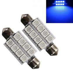 2 X 5050 42mm 8-SMD Bil Interiør Dome Festoon LED-pærer