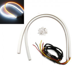 2 X 60cm Vit Amber Switch Strålkastare LED Strip DRL 12V