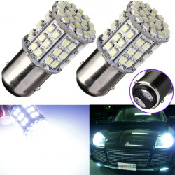 2 x BAY15D 1157 White Car Tail Stop Brake Light 64 SMD LED Bulbs