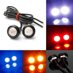 2 x Car 3W LED Eagle Eye White Light Daytime Running Backup Lamp