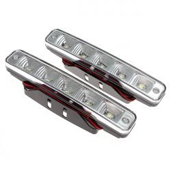 2x Car 5 LED Super White Driving Daytime Running LED Light Head Lamp