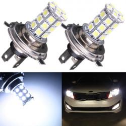 2 x Car H4 5050 SMD 27 LED White High Beam Fog Headlight Bulbs