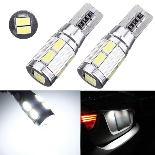 2 X Bil LED CANBUS 10SMD 5630 Felfri T10 W5W 194 168 Sido Glödlampor Bilbelysning