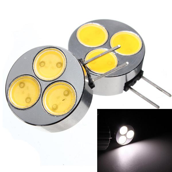 2 x G4 3W 3SMD COB LED Car Light Lamp Bulbs 12V Pure White Car Lights