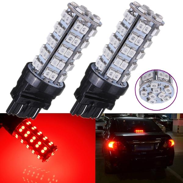 2 X Røde Bil 3157 68SMD Bremse Markeringslygte Bremselys LED Lamper 3057 3457 3047 Bilbelysning