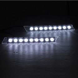 2 x Super White Car 9 LED Daytime Running Light for Audi