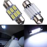 2 X Vit 31MM 6 LED 5630 Festoon Spollampa Dome Map Interior LED Ljus Bulbs Bilbelysning