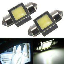 2 x White 31MM COB 3W Festoon Dome Interior Car LED Light Bulbs