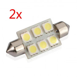 2 X Vit 39mm 5050 6 SMD LED Festoon Spollampa Dome C5W