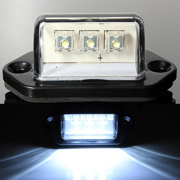 3Led White License Number Plate Lights Truck Tail Trailer Lamp Car Lights