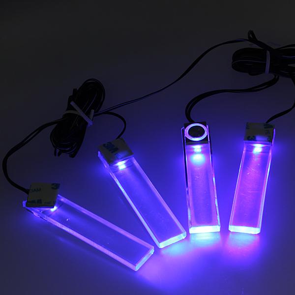 4 LED Bil Charge Inredning Golv Dash Dekorativa Ljus Bilbelysning
