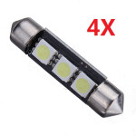4X 39mm 3smd Bil Reading Lys Dome Lampe Pære Decode med Upolær Bilbelysning