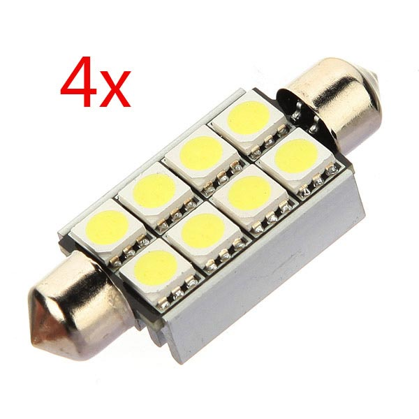 4X Canbus 42mm 8 LED 5050 SMD Car C5W Dome Festoon Plate Light Bulb Car Lights