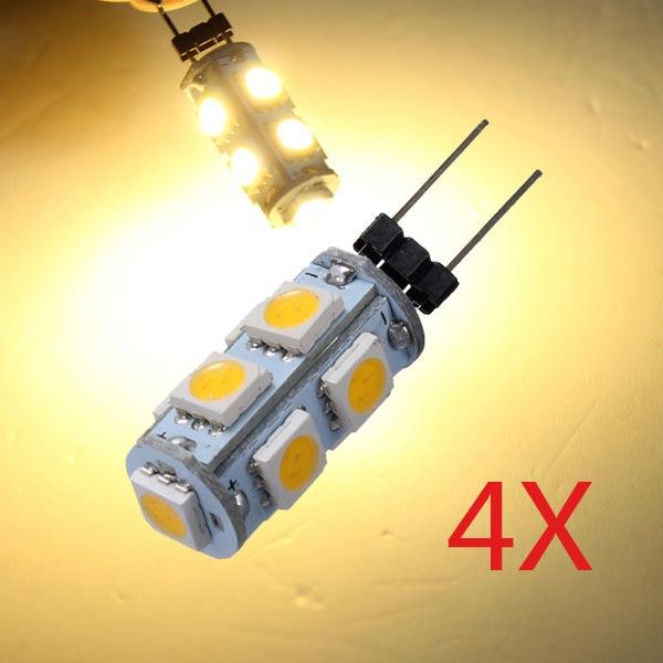4 X Bil G4 9 LED SMD 5050 Varmvitt Ljus lampa 12V Bilbelysning